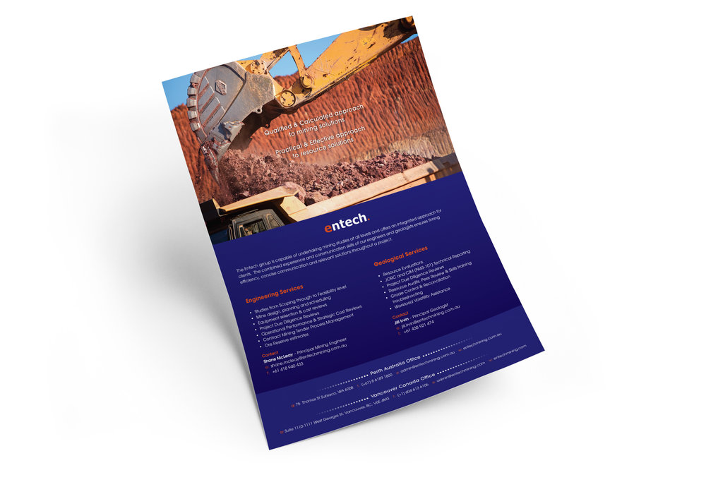A4 flyer for Perth mining company  Entech . Designed in Perth, 2015.