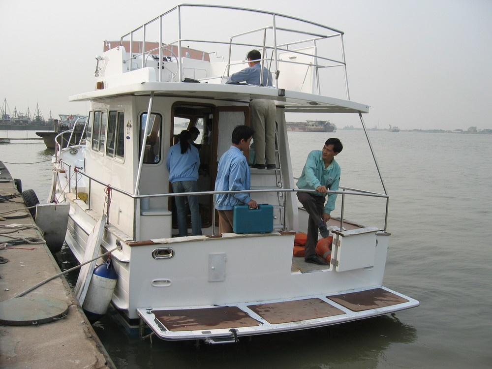 Island Gypsy 32-161 Eurosedan just after launch in the Pearl Riiver Estuary in southern China. Ready for sea trials. 2005