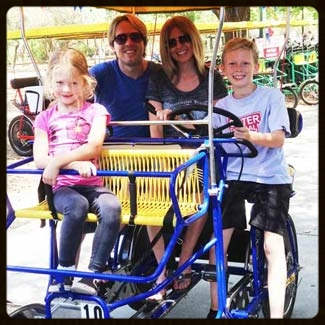 Biking at irvine Lake with the kids!
