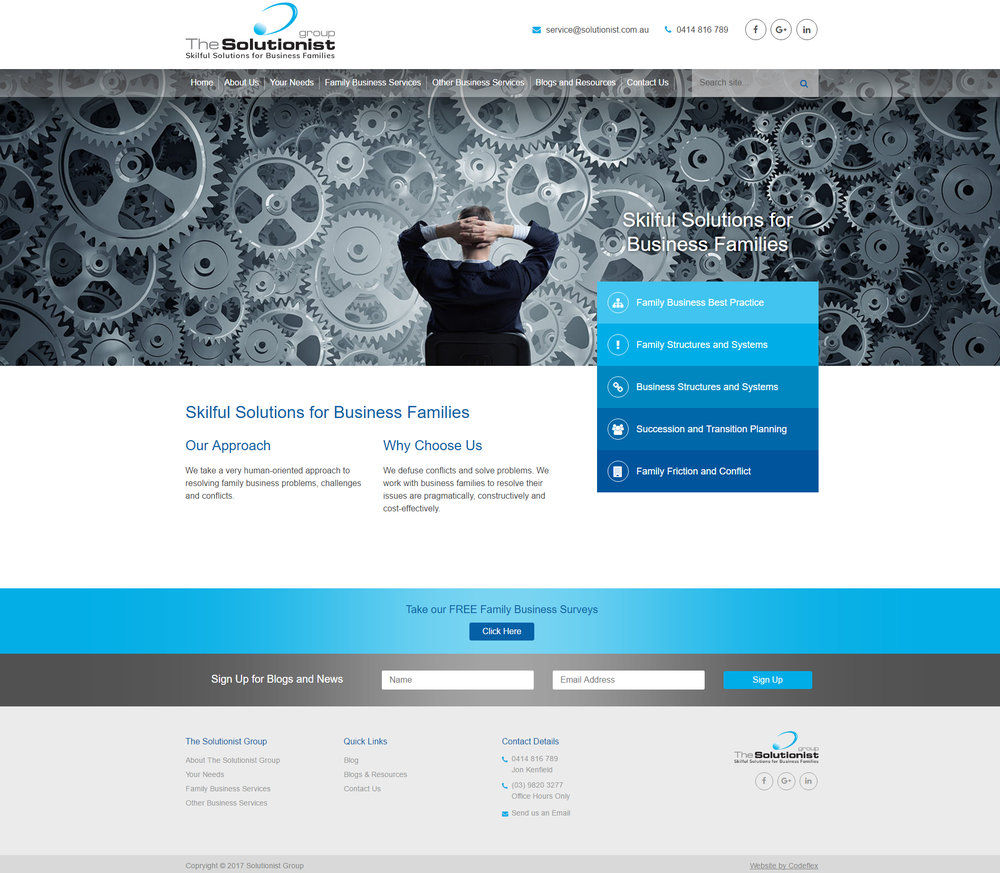 The Solutionist Group  Business services site focused around information delivery and blogs