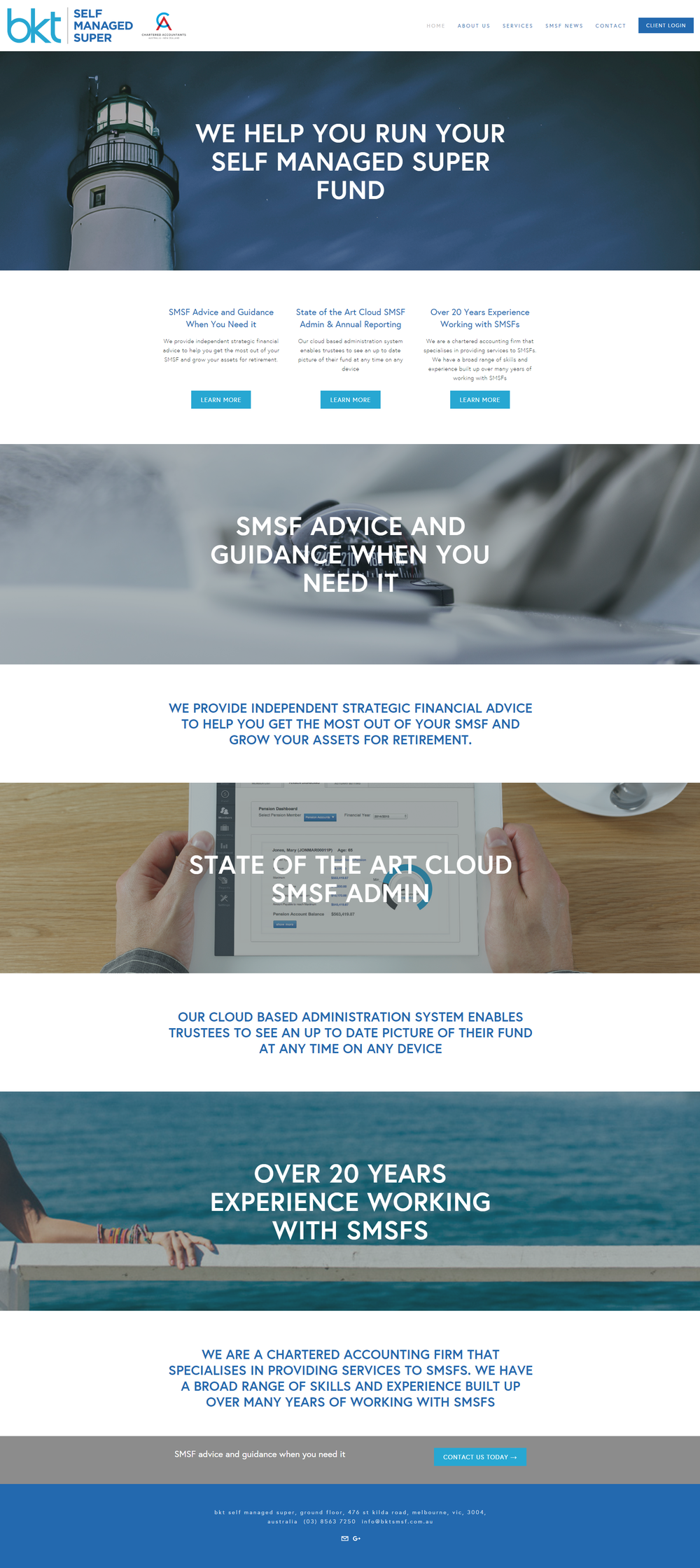 BKT SMSF  Accounting firm site showcasing firm profile