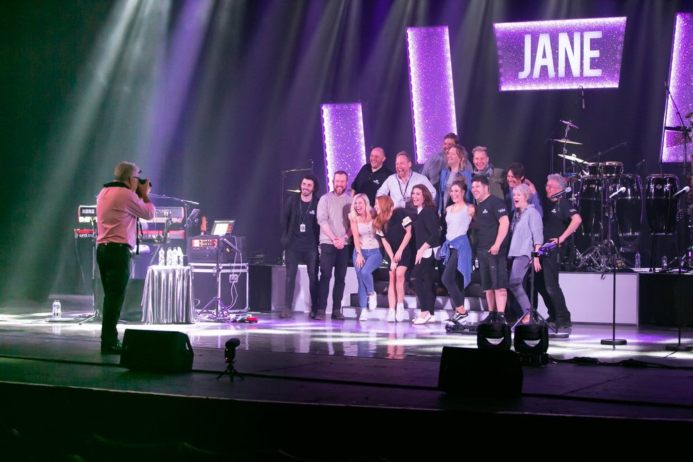 Behind, Behind the Scenes! David Charles shooting the Jane McDonald Band and Crew onstage at Blackpool Opera House 2018.