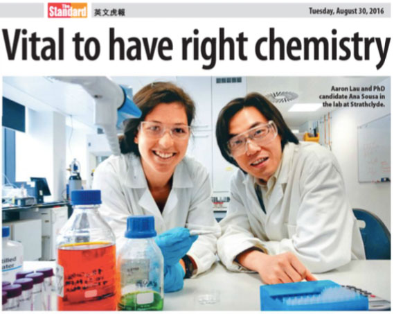The Lau lab featured in the Standard, a Hong Kong newspaper (http://paper.thestandard.com.hk/?date=2016-08-30&page=22&pubkey=2016083000