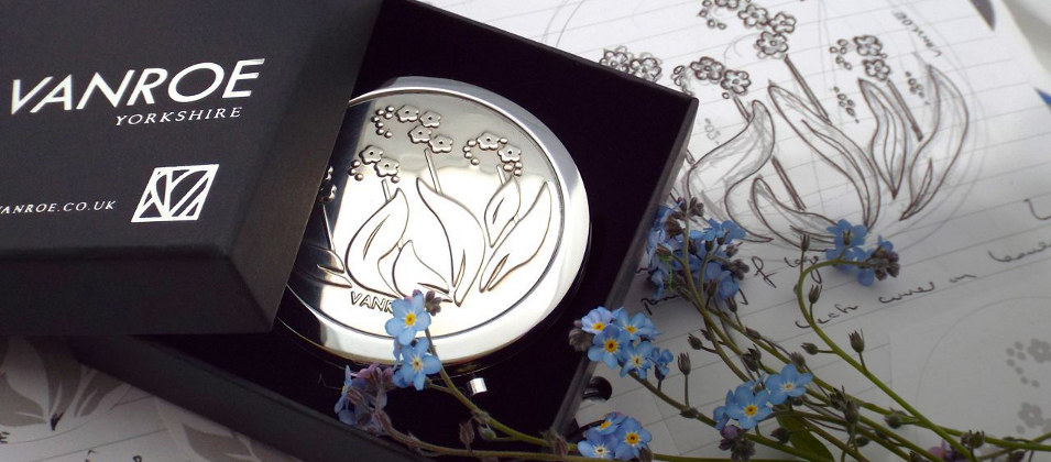 My second design, Forget Me Not, with my original sketch and the flowers that inspired it