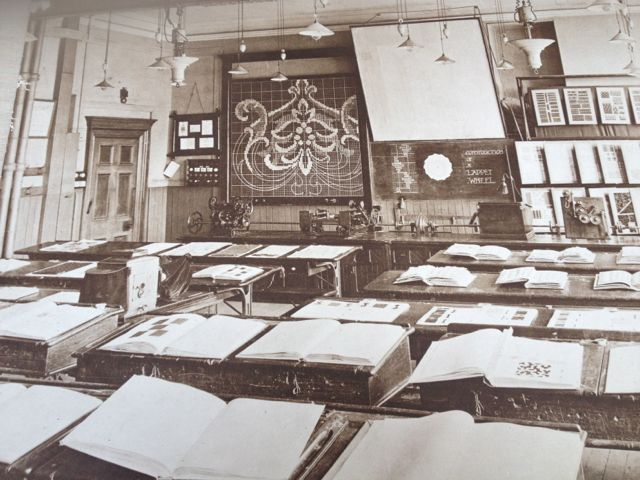 The drafting room in Bradford's Technical School at the turn of the 20th century. N ow part of Bradford College,  I leafed through archive boxes in this very room. Photo: Bradford College