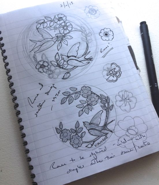 My initial sketches for the Rose & Swallow design
