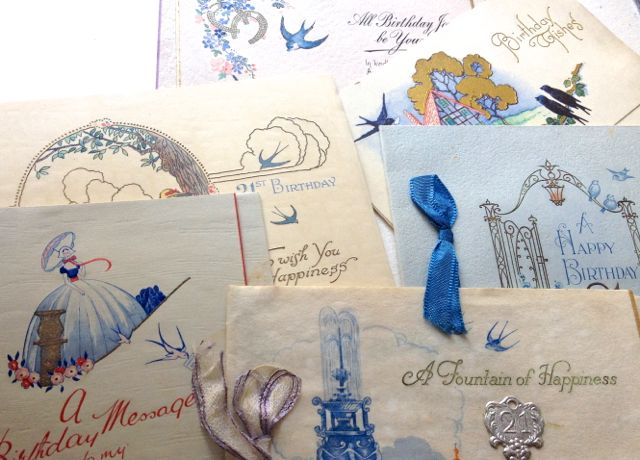 Some of the many swallows on Rose's vintage greetings cards