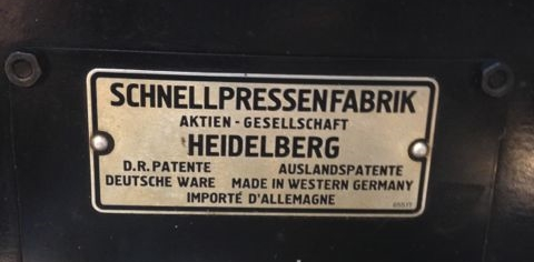 The Heidelberg's label, made in the former West Germany