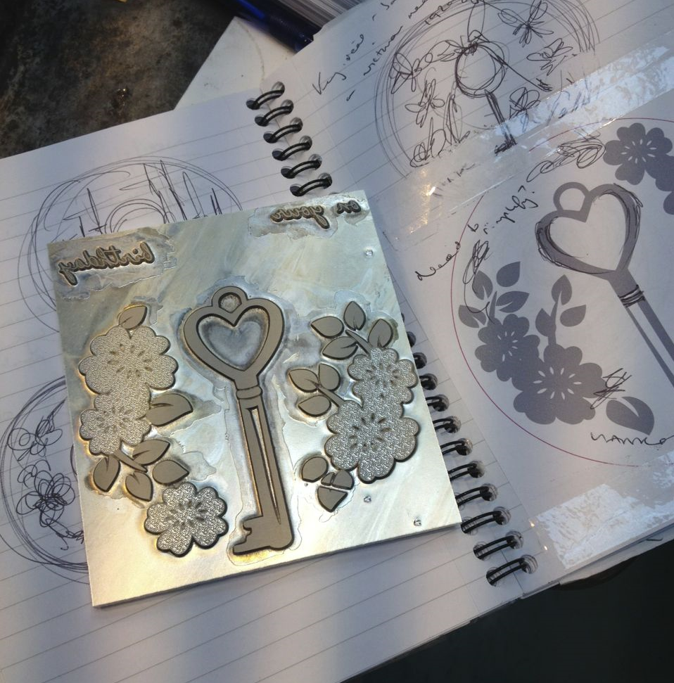 My initial sketch for the 'Birthday Key', and the magnesium die to print your card. (Read how my Rose & Swallow and Key designs were both inspired by the greetings cards of a 1920s British lady, Rose.)