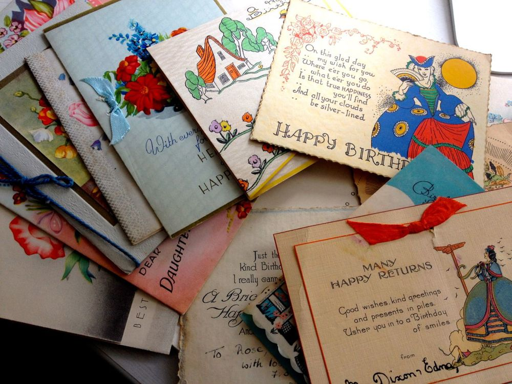 Some of the hundred or so cards from which I've chosen the best birthday messages. You can read how these cards are inspiring my most popular designs in this post about the Rose & Swallow.