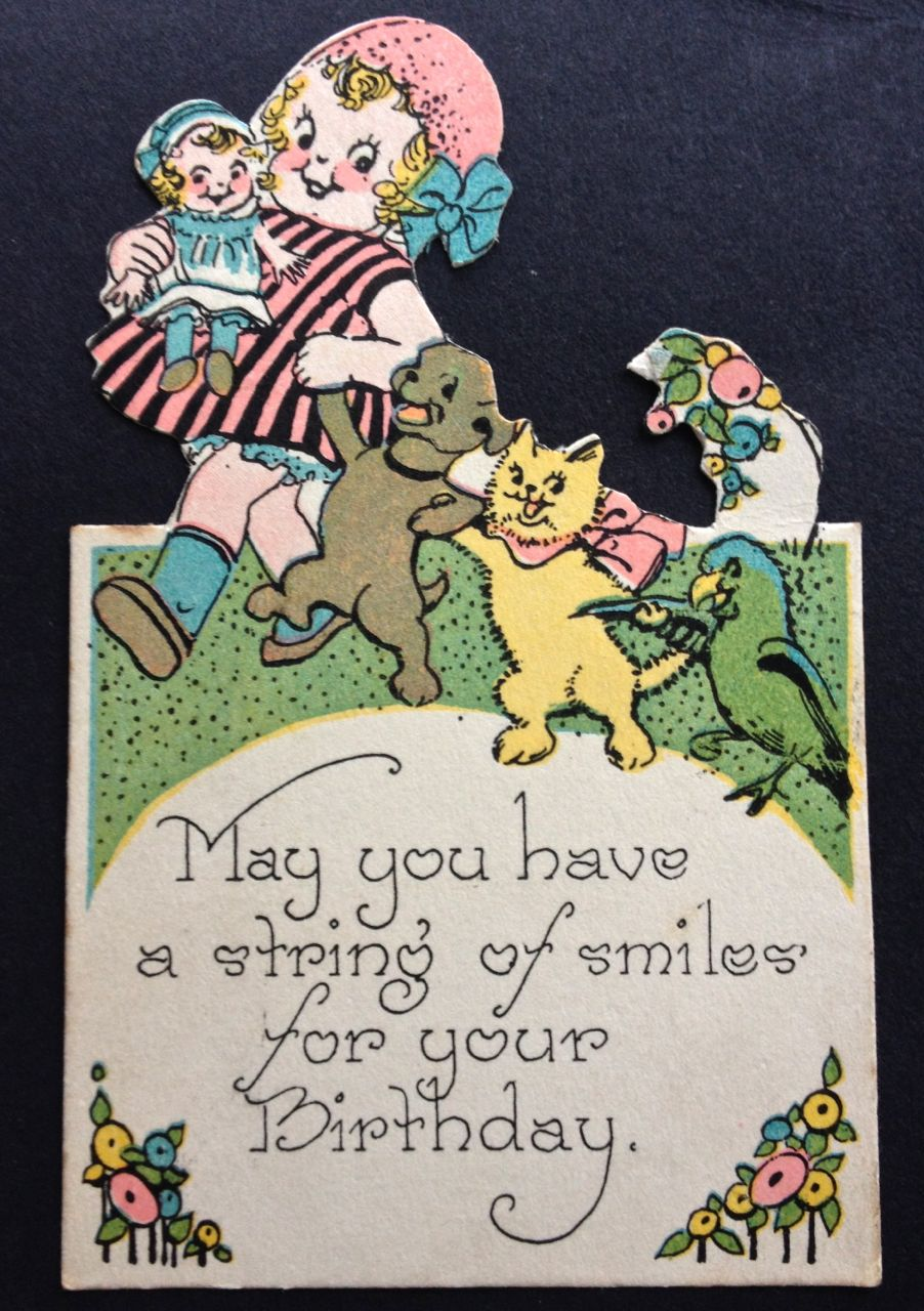 I love the design and message of this little 1930s birthday card!