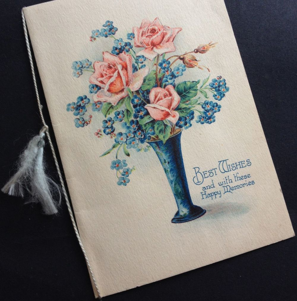 """A vintage card with the simple but elegant """"Best wishes and with these happy memories"""""""