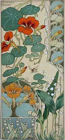 From Art Nouveau artist Riom's Etude de Fleurs - Nasturtiums & Lily of the Valley. You can see the curves of the lily of the valley used in my final forget-me-not gift design.