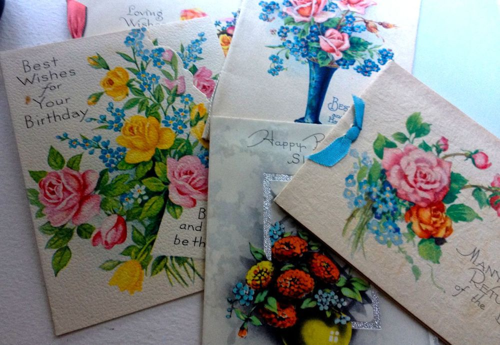 Forget-me-nots were a popular motif for greeting cards, like these in my collection from the 1930s and '40s. They symbolised love and 'you are in my thoughts'. You can read how vintage cards inspire my most popular designs in this post about the Rose & Swallow.
