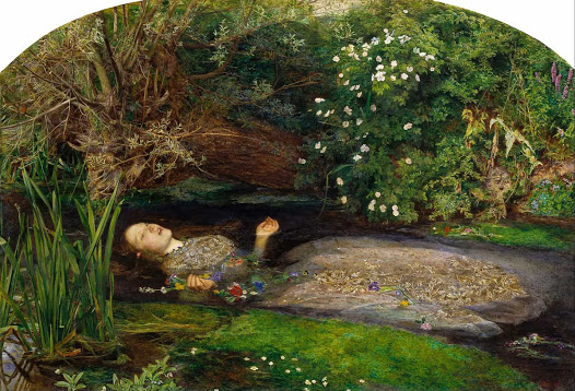 John Everett Millais's 'Ophelia'. British wildflowers and a river. Water forget-me-nots peeking out in the foreground, and on the far bank underneath the pink foxglove spires.