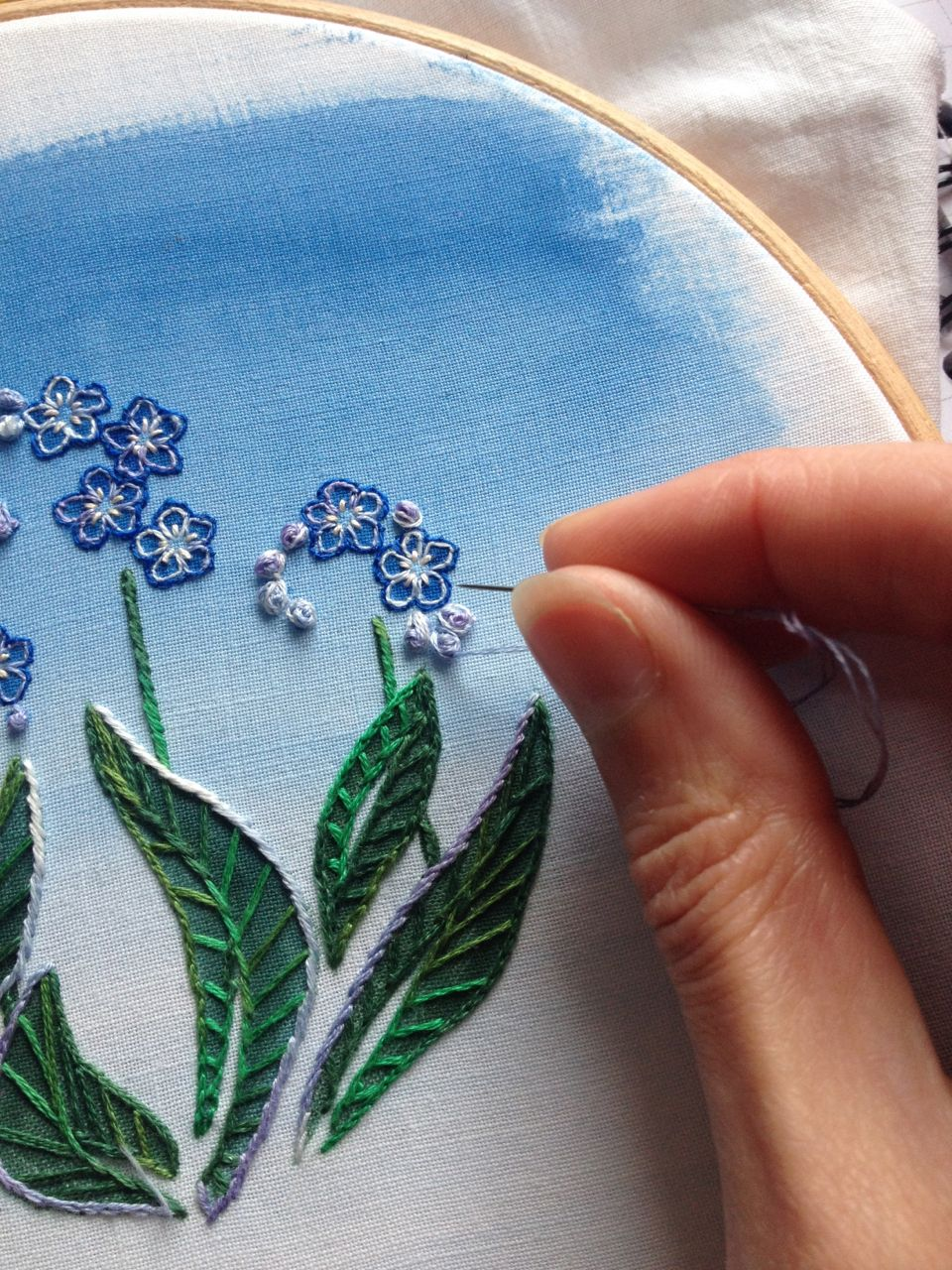 Embroidery based on my forget-me-not design.