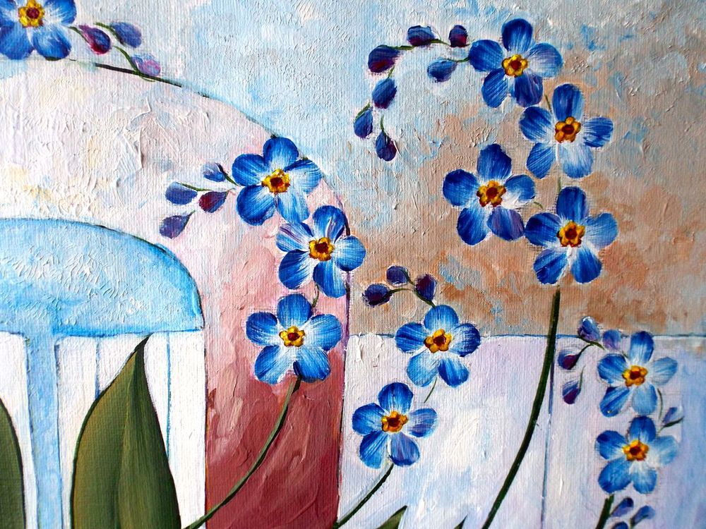 My study of forget-me-nots in 'one stroke' painting, used for colourways for designs.