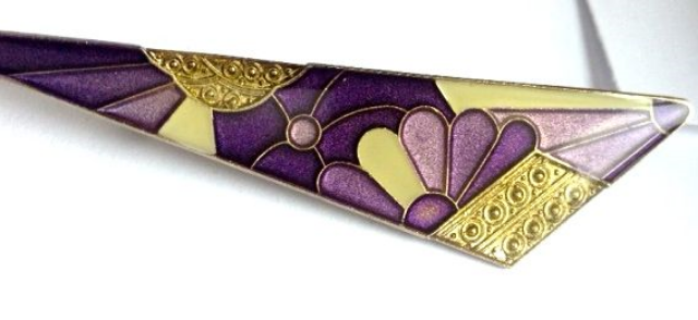 Pierre Bex enamelled brooch, in an Art Deco style, produced in France from 1969 - 1980