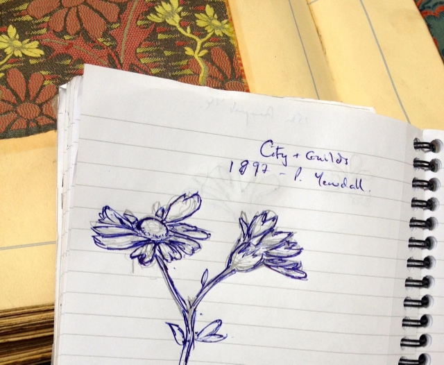 My initial sketch of Yewdall's daisy motif.