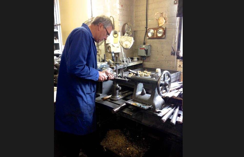 Edwin Blyde & Co.'s Derek hand-turning the pewter for our new collection. I love how variations in the traditional technique make every mirror unique.