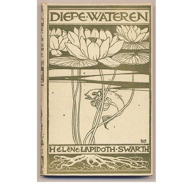 One of the #victorian #bookbindings I researched for my new pocket mirror designs.     #inspiration #books #waterlily #fish #artnouveau #19thcentury #design  #productdesign