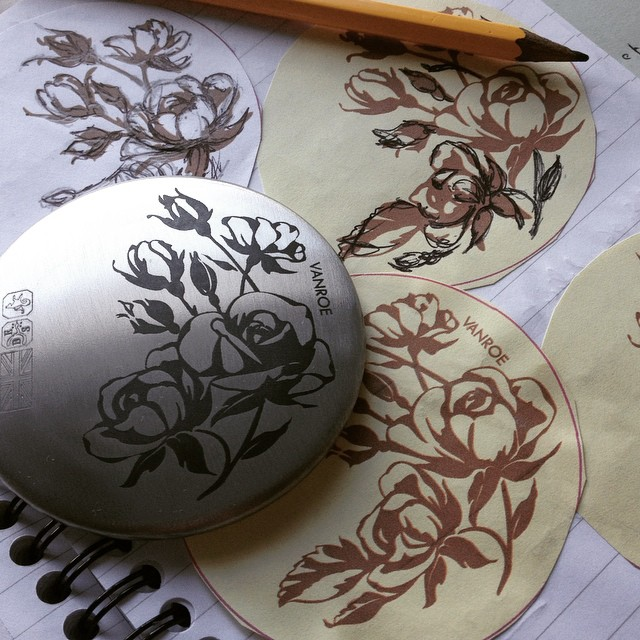 Rose pocket mirror on my sketchbook pages for the design #rose #design #sketchbook #inspiration #drawing #productdesign #pewter #madeinengland