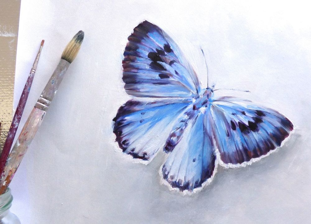 large butterfly blue uk painting vanroe