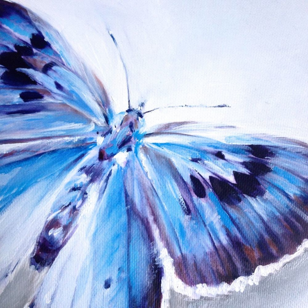 butterfly british blue uk oil painting vanroe