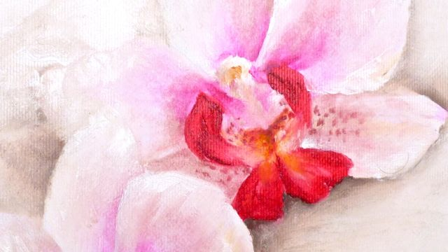 Close up of my orchid painting. It may be the colours that draw me back to orchids again and again!