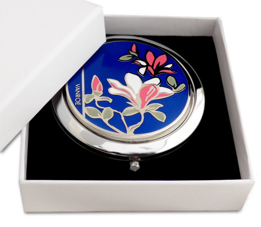 Magnolia flower compact mirror gift