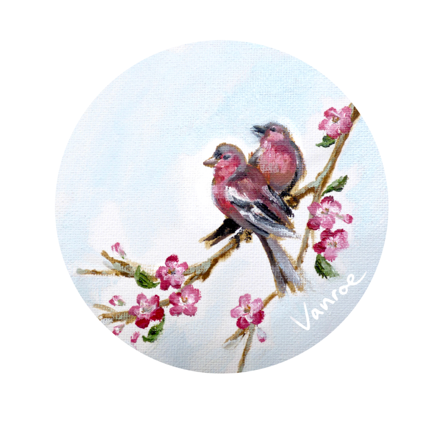 My painting for our new cherry blossom and bird design.
