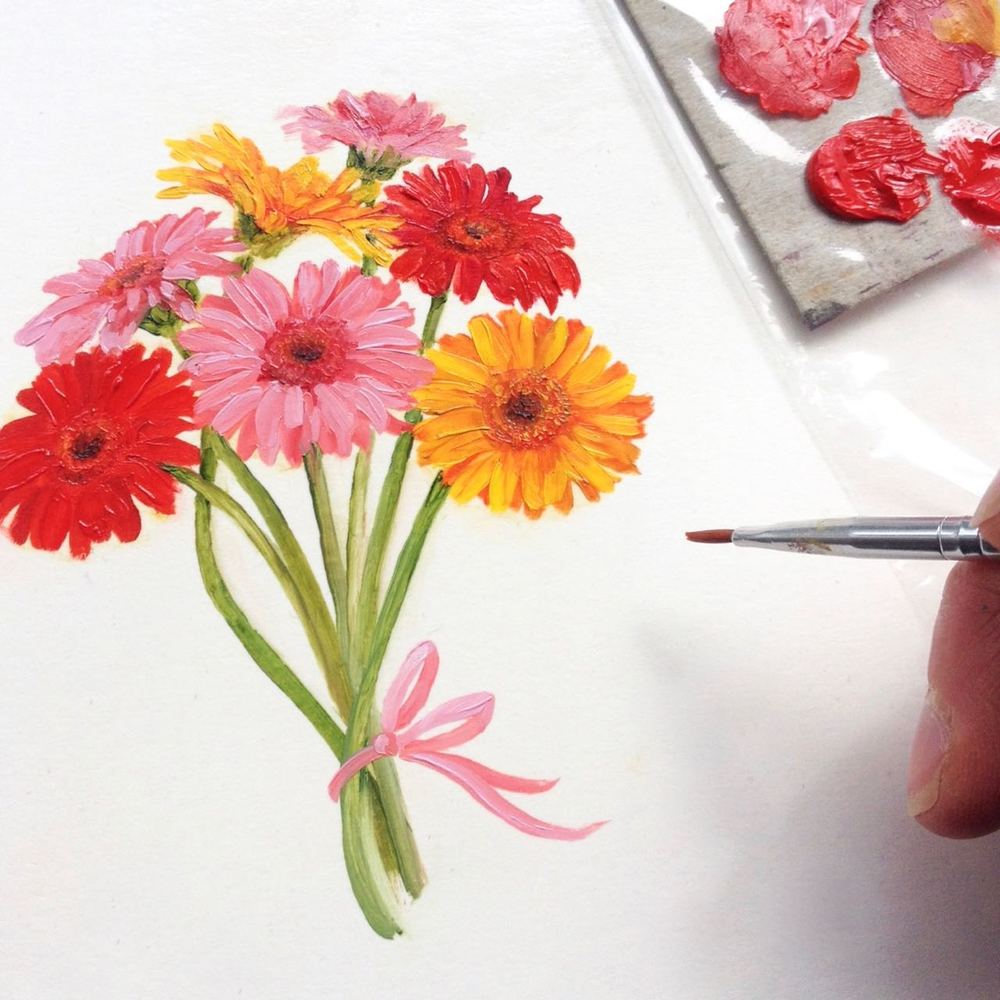 On my desk today... happy gerbera daisies!