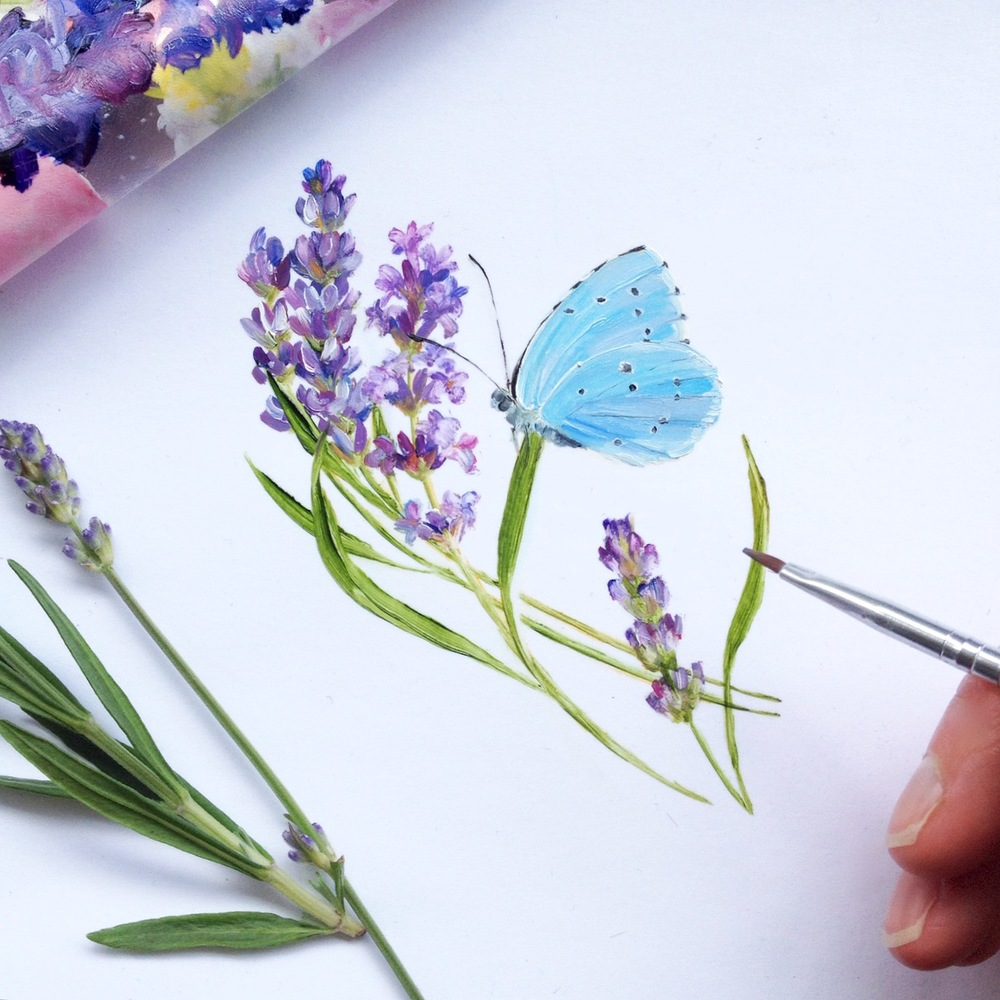 lavender butterfly compact mirror painting