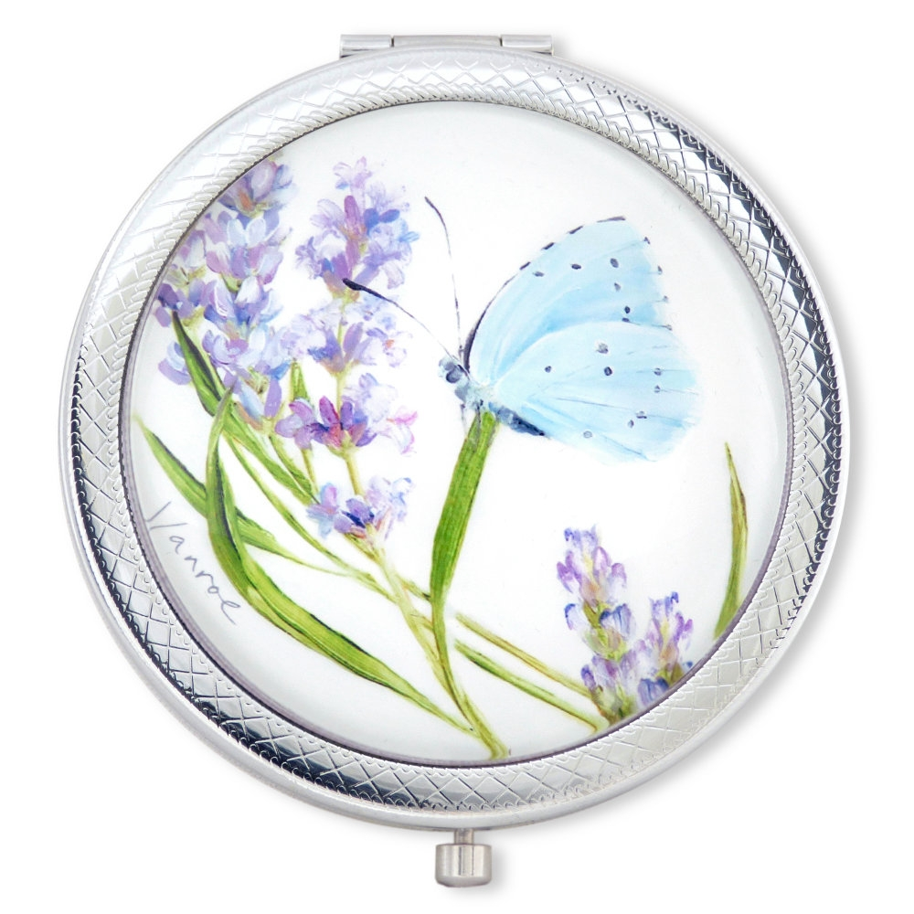 lavender butterfly compact mirror