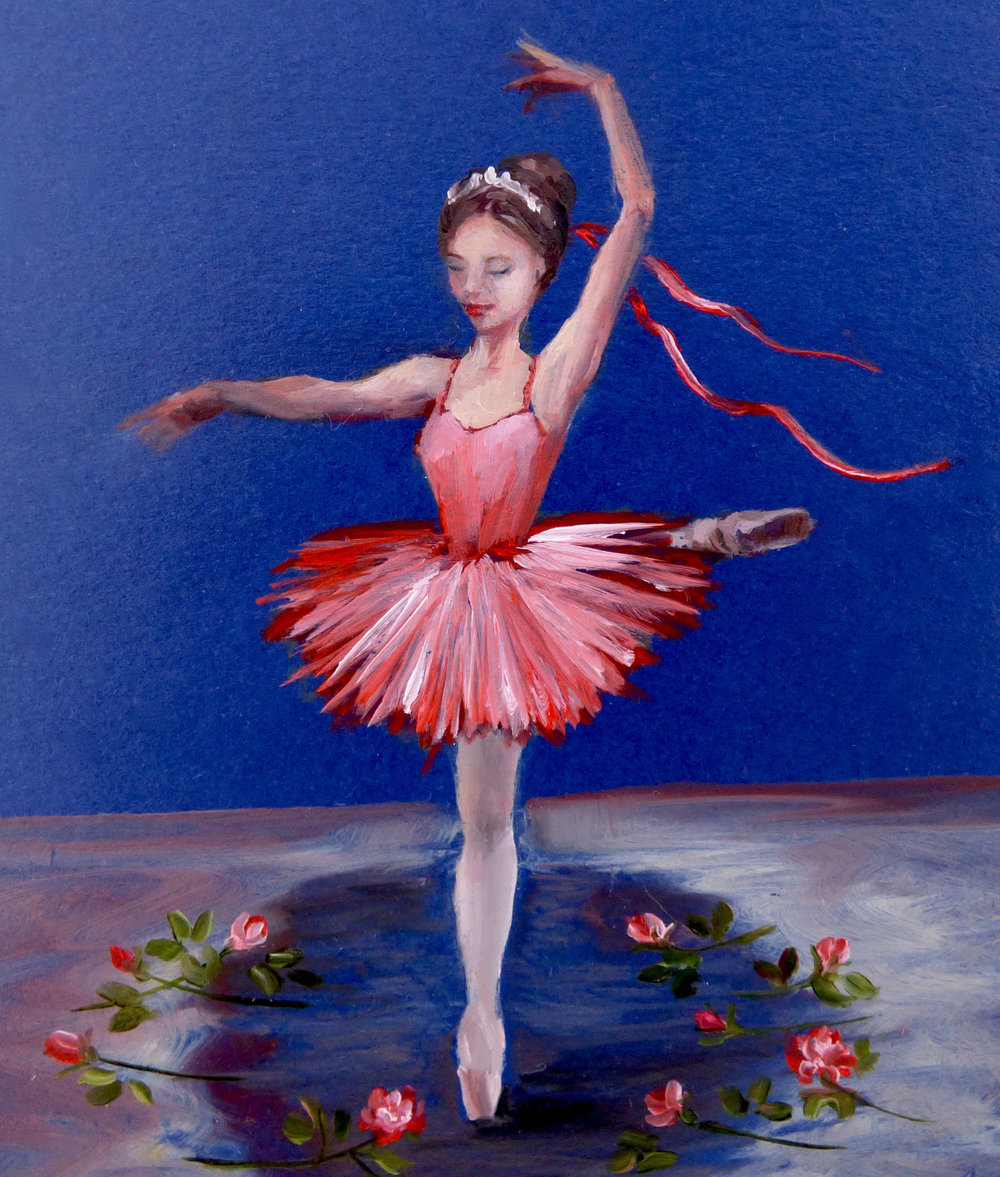My finished painting, with roses scattered at her toes! The royal blue stage looks so pretty in the compact mirror, as when set under the tempered-glass dome it really glows...