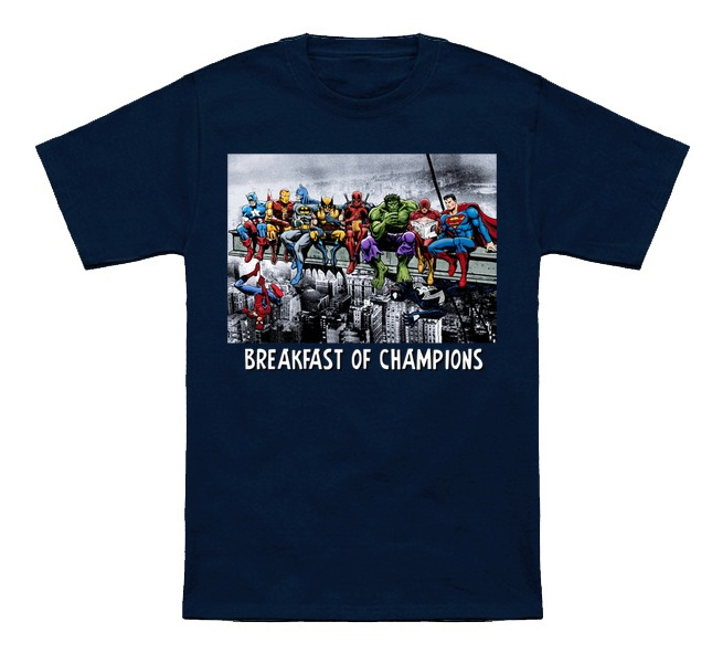 Superheroes Lunch Atop A Skyscraper -Breakfast Of Champions T-Shirt