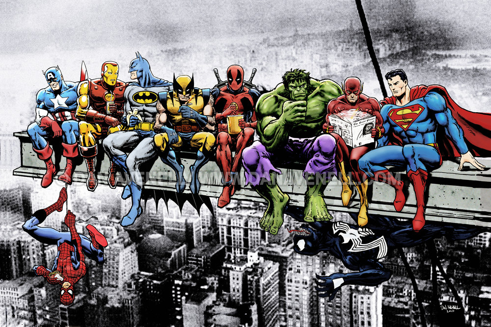 Breakfast Of Champions: Marvel & DC Superheroes Lunch Atop A Skyscraper