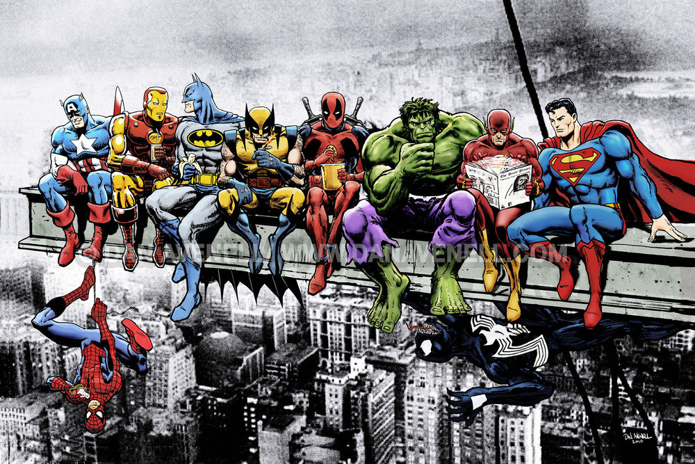 Breakfast Of Champions - Marvel & DC Superheroes Lunch Atop A Skyscraper