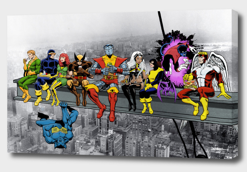 Marvel and DC   Superheroes  Lunch Atop A Skyscraper Mounted Canvas