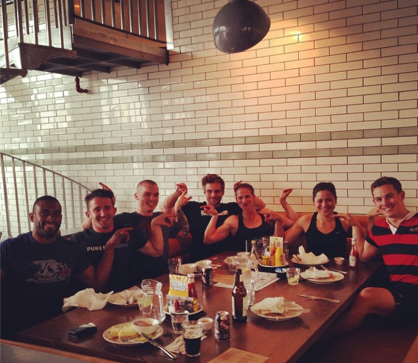 The Post-BroSesh re-fuel, complete with the double swan pose