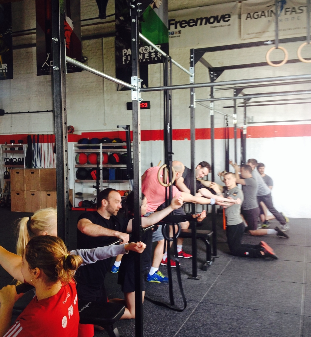 Getting our tricep mash on before Saturday's bench and cleans session