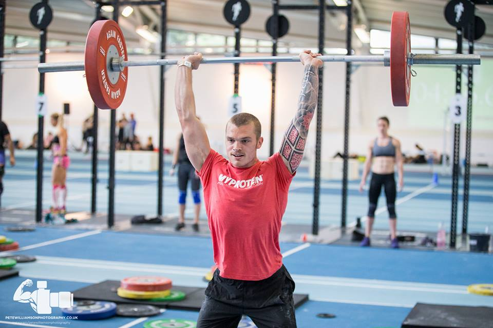 Coach Phil smashing through his push jerk during The Super Team Cup's 'DT Relay'. Team Lift for Swift took 25th place in the event out of 100 teams!