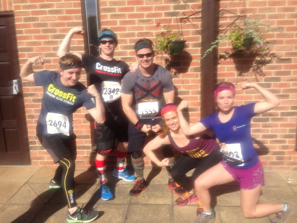 The CrossFit 1864 Crew living the Chalk Dream at the Bacchus Half Marathon