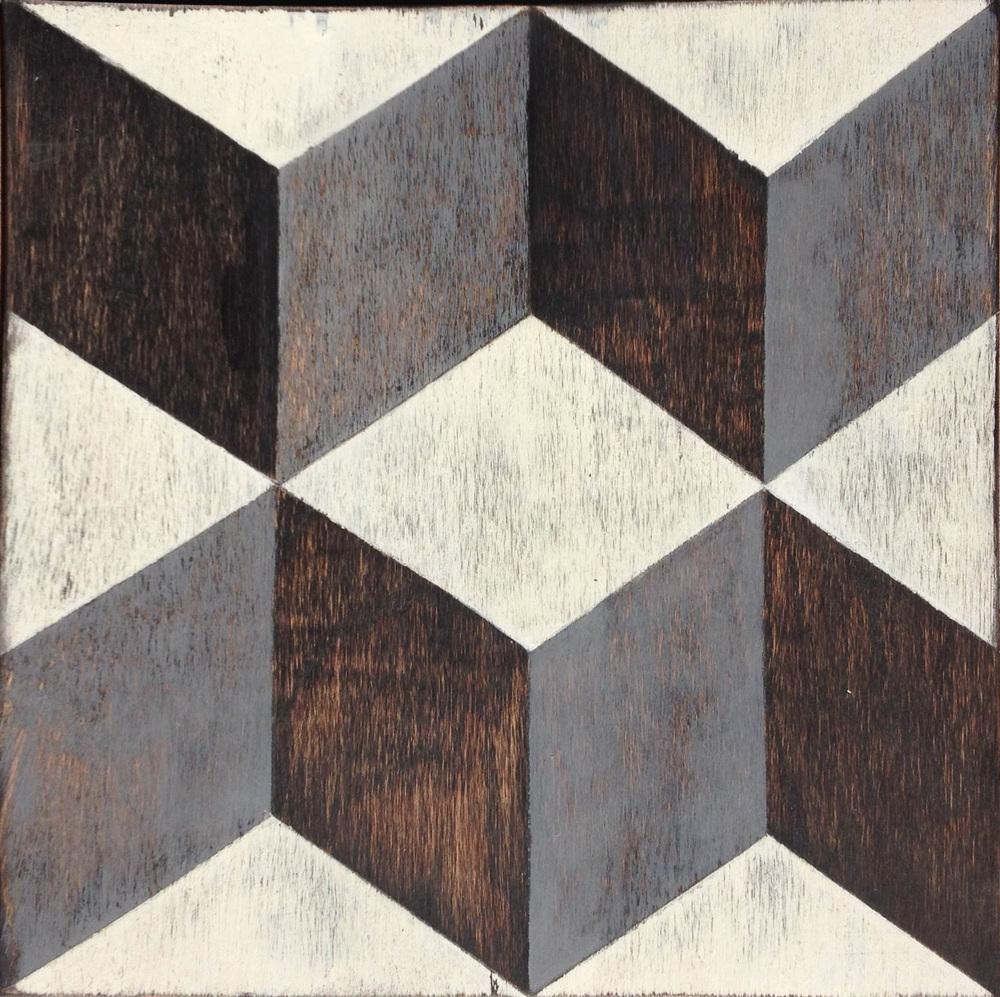 Tumbling Blocks Hardwood Floor Tile