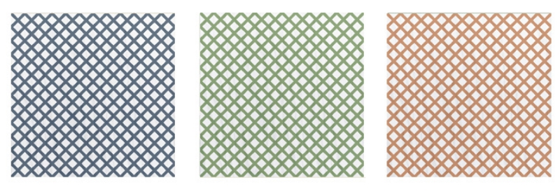 TG-Lattice -This simple pattern was designed with housekeeping in mind…for those of you that don't enjoy doing it, this is the tile for you! The classic lattice pattern will hide virtually any unwanted mess while giving you an impressive looking floor at the same time. $18.25 3 Color ways available- Navy and White - Kelly Green and White - Orange and White