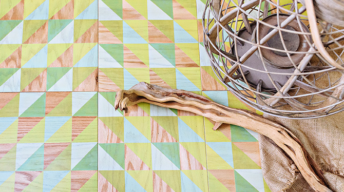 Our Colorful Lively Celery Pattern in 12x12 Wood Tiles