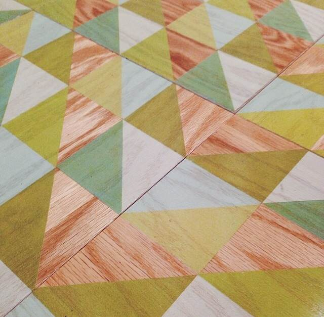 Fun Lively Celery Patterned Engineered Wood Tile in 12x12
