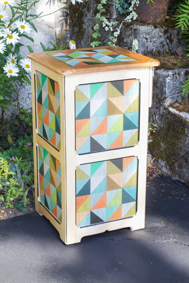 Flirt hardwood floor tile pattern as decorative cabinet in 12x12