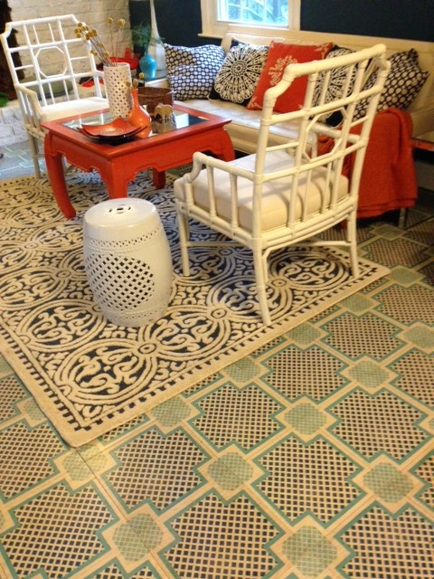 Our Navy and Blue Palm Beach Pattern in 12x12 Wood Tiles