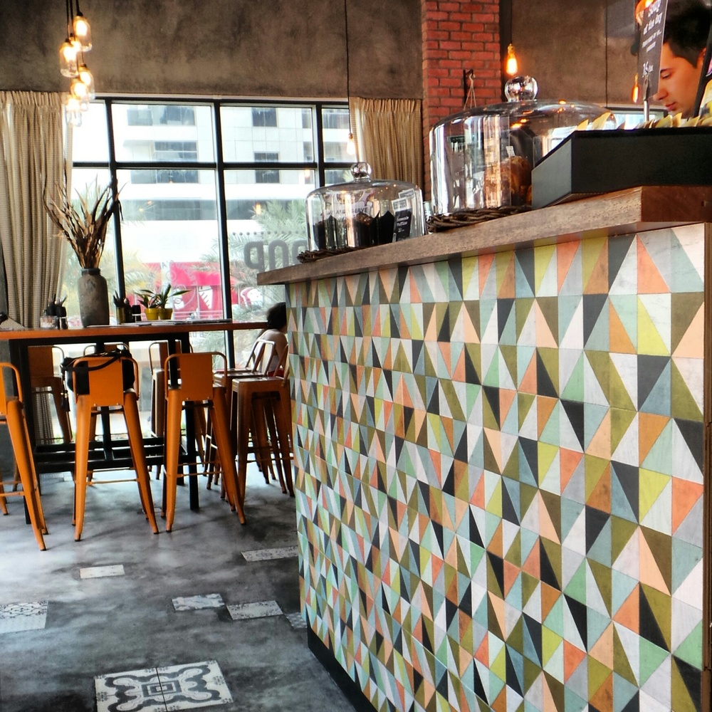 Flirt Wood Tiles used on Bar in Dubai
